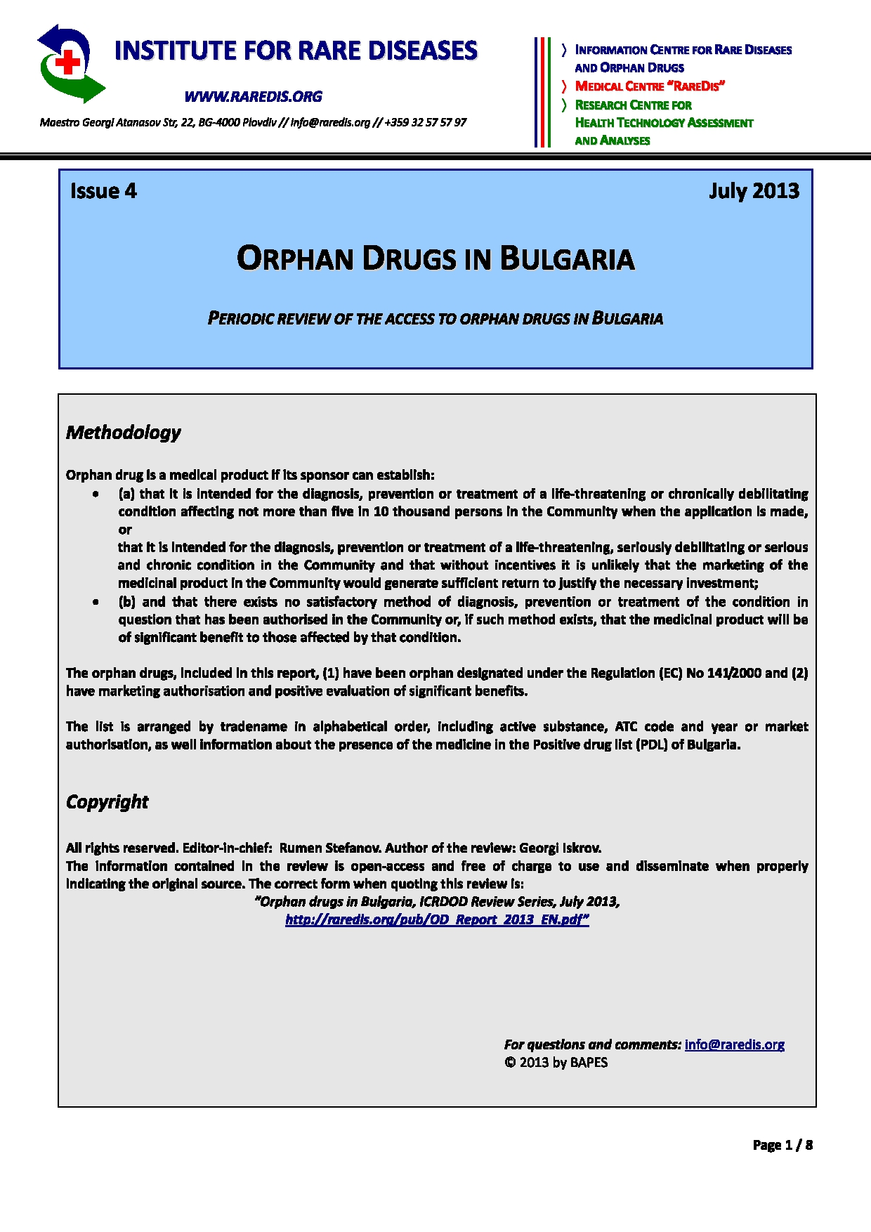 Orphan drugs in Bulgaria, issue 4/2013